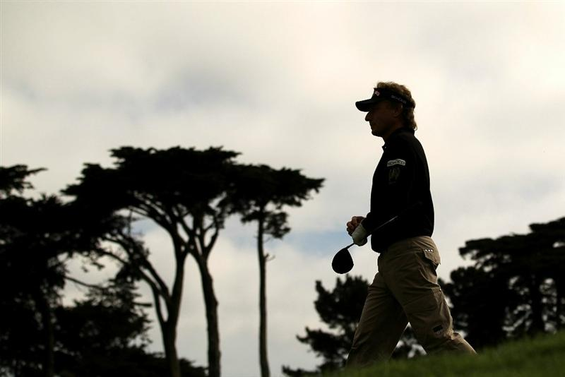SAN FRANCISCO - NOVEMBER 05:  Bernhard Langer of Germany walks off the 4th tee during round 2 of the Charles Schwab Cup Championship at Harding Park Golf Course on November 5, 2010 in San Francisco, California.  (Photo by Ezra Shaw/Getty Images)