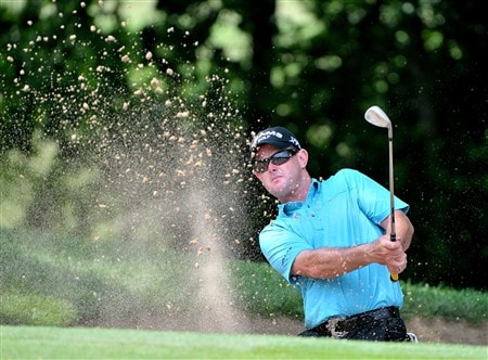 FORT WORTH , TX - MAY 22:  Rory Sabbatini blasts out of the greenside bunker on the par three eighth hole during the first round of the Crown Plaza Invitational at Colonial Country Club on May 22, 2008 in Ft. Worth, Texas.  (Photo by Marc Feldman/Getty Images)