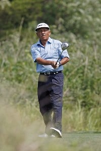 Vicente Fernandez eyes a drive during the first round of the U.S. Senior Open at Prairie Dunes Country Club in Hutchinson,  Kansas on July 6, 2006.Photo by G. Newman Lowrance/WireImage.com