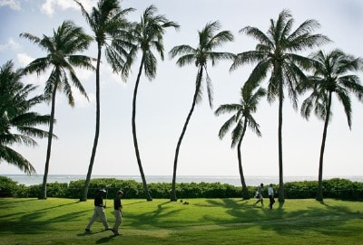 Players walk to the 17th green during practice round at the Sony Open in Hawaii held at Waialae Country Club on January 9, 2008 in Honolulu, Hawaii. PGA TOUR - 2008 Sony Open in Hawaii - Pro-AmPhoto by Stan Badz/PGA TOUR/WireImage.com