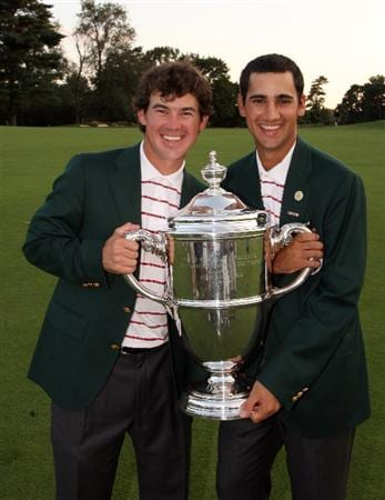 ARDMORE, PA - SEPTEMBER 13: Brian Harmon and Adam Mitchell of the USA with the trophy both are members of the University of Georgia Golf Team after the final afternoon singles matches on the East Course at Merion Golf Club on September 13, 2009 in Ardmore, Pennsylvania  (Photo by David Cannon/Getty Images)
