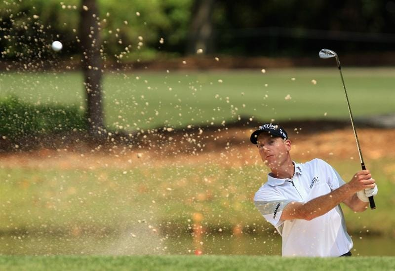 HILTON HEAD ISLAND, SC - APRIL 24:  Jim Furyk hits a shot from the sand on the 7th hole during the final round of The Heritage at Harbour Town Golf Links on April 24, 2011 in Hilton Head Island, South Carolina.  (Photo by Streeter Lecka/Getty Images)