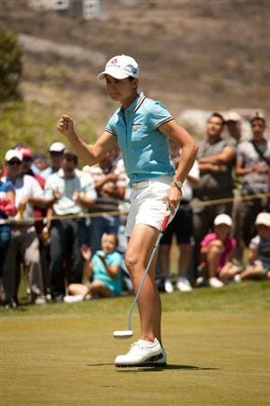 MORELIA, MEXICO - APRIL 30: Lorena Ochoa of Mexico pumps her fist to celebrate a birdie at the sixth hole during the second round of the Tres Marias Championship at the Tres Marias Country Club on April 30, 2010 in Morelia, Mexico. (Photo by Darren Carroll/Getty Images)
