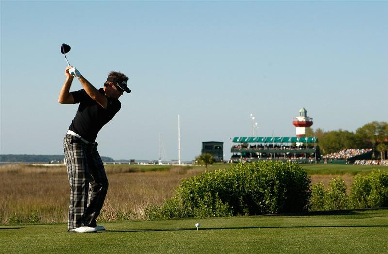 HILTON HEAD ISLAND, SC - APRIL 17:  Brian Gay hits his tee shot on the 18th hole during the second round of the Verizon Heritage at Harbour Town Golf Links on April 17, 2009 in Hilton Head Island, South Carolina.  (Photo by Streeter Lecka/Getty Images)