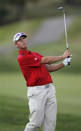 CANONSBURG, PA - SEPTEMBER 03: Jeff Gallagher watches his shot to the first green during the second round of the Mylan Classic presented by CONSOL Energy at Southpointe Golf Club on September 3, 2010 in Canonsburg, Pennsilvania.  (Photo by Gregory Shamus/Getty Images)
