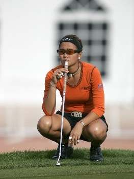 Jennifer Rosales waiting to putt on eighteen during the second round of The Safeway International at Superstition Mountain Golf and Country Club on March 17, 2005.