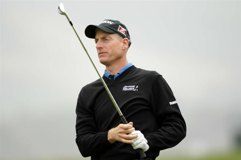 PEBBLE BEACH, CA - JUNE 15:  Jim Furyk hits a shot during a practice round prior to the start of the 110th U.S. Open at Pebble Beach Golf Links on June 15, 2010 in Pebble Beach, California.  (Photo by Andrew Redington/Getty Images)