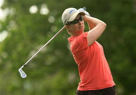 MT. PLEASANT, SC - MAY 30:  Karrie Webb of Australia watches her tee shot on the 14th hole during the second round of the Ginn Tribute at RiverTowne Country Club on May 30, 2008 in Mt. Pleasant, South Carolina.  (Photo by Scott Halleran/Getty Images)