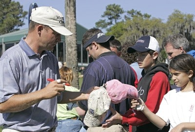 Jason Bohn signing autographs during a practice round for THE PLAYERS Championship held at the TPC Stadium Course in Ponte Vedra Beach, Florida on Wednesday, March 22, 2006.Photo by Michael Cohen/WireImage.com