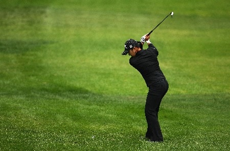 EDMONTON, CANADA - AUGUST 18: Jeong Jang of South Korea makes an approach shot on the second hole during the third round of the LPGA CN Canadian Women's Open 2007 on August 18, 2007 at the Royal Mayfair Golf Club in Edmonton, Alberta, Canada.  (Photo by Robert Laberge/Getty Images)