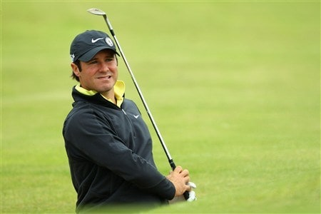 SOUTHPORT, UNITED KINGDOM - JULY 15:  Trevor Immelman of South Africa watches a bunker shot during the second practice round of the 137th Open Championship on July 15, 2008 at Royal Birkdale Golf Club, Southport, England.  (Photo by Stuart Franklin/Getty Images)
