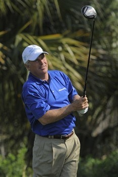 PALM COAST, FL - MARCH 28: Curtis Strange tees off on the second hole during the first round of the Ginn Championship at Hammock Beach on March 28, 2008 in Palm Coast, Florida. (Photo by Scott A. Miller/Getty Images)
