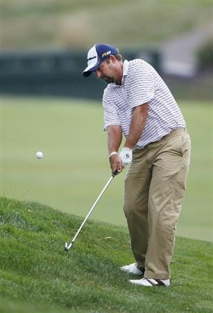 CANONSBURG, PA - SEPTEMBER 03: Dicky Pride hits his second shot to the first green during the second round of the Mylan Classic presented by CONSOL Energy at Southpointe Golf Club on September 3, 2010 in Canonsburg, Pennsilvania.  (Photo by Gregory Shamus/Getty Images)