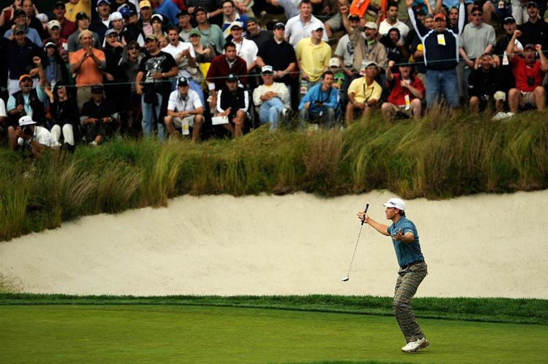 FARMINGDALE, NY - JUNE 21:  Ricky Barnes reacts to his birdie putt on the 17th hole during the continuation of the third round of the 109th U.S. Open on the Black Course at Bethpage State Park on June 21, 2009 in Farmingdale, New York.  (Photo by Sam Greenwood/Getty Images)