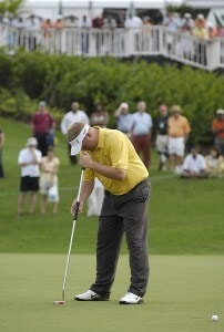 Carl Pettersson of Sweden just misses a putt that would have lead his team into the playoff during the fourth and final round of the WGC-Barbados World Cup held on the Country Club Course at the Sandy Lane Resort in St. James, Barbados, on December 10, 2006. PGA TOUR - WGC - 2006 Barbados World Cup - Final RoundPhoto by Steve Levin/WireImage.com
