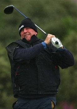 SOUTHPORT, UNITED KINGDOM - JULY 17:  Mark Calcavecchia of USA watches his tee shot on the 2nd hole during the First Round of the 137th Open Championship on July 17, 2008 at Royal Birkdale Golf Club, Southport, England.  (Photo by Richard Heathcote/Getty Images)