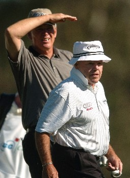 Howard Twitty and Jim Colbert watches the flight of Twitty's tee shot on the second hole during the first round of the Champions' Tour 2005 SBC Classic at  the Valencia Country Club in Valencia, California March 11, 2005.