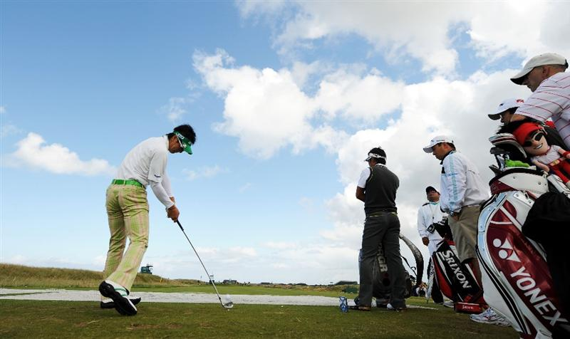 TURNBERRY, SCOTLAND - JULY 13: Ryo Ishikawa of Japan on the 16th tee during the practice round of the 138th Open Championship on July 13, 2009 on the Ailsa Course, Turnberry Golf Club, Turnberry, Scotland. (Photo by Harry How/Getty Images)