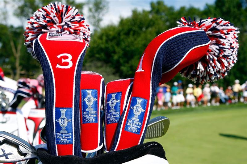 SUGAR GROVE, IL - AUGUST 18:   U.S. Team head covers are seen during a practice round prior to the start of the 2009 Solheim Cup at Rich Harvest Farms on August 18, 2009 in Sugar Grove, Illinois.  (Photo by Scott Halleran/Getty Images)