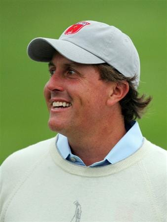 NEWPORT, WALES - SEPTEMBER 28:  Phil Mickelson of the USA smiles during the USA Team Photocall prior to the 2010 Ryder Cup at the Celtic Manor Resort on September 28, 2010 in Newport, Wales.  (Photo by Andy Lyons/Getty Images)