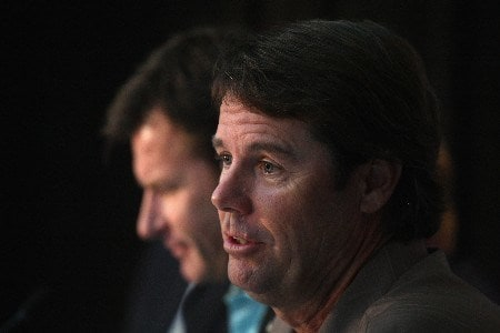 LOUISVILLE, KY - OCTOBER 22:  U.S. captain Paul Azinger speaks at a news conference during previews for the 2008 Ryder Cup at Valhalla Golf Club October 22, 2007 in Louisville,Kentucky.  (Photo by David Cannon/Getty Images)