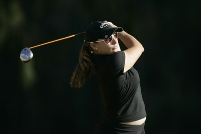 Kelli Kuehne drives off the 17th tee during the first round of the SBS Open on February 16, 2006 at the Turtle Bay Resort Golf Club in Kahuku, on the island of Oahu, Hawaii.Photo by Marco Garcia/WireImage.com