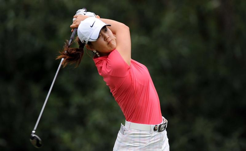 NORTH PLAINS, OR - AUGUST 28: Michelle Wie tees of on the 7th hole during the first round of the Safeway Classic on August 28, 2009 at Pumpkin Ridge Golf Club in North Plains, Oregon. (Photo by Steve Dykes/Getty Images)