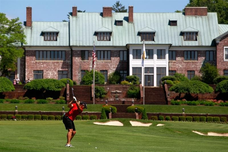 GLADSTONE, NJ - MAY 21:  Angela Stanford hits her second shot to the ninth hole in round three of the Sybase Match Play Championship at Hamilton Farm Golf Club on May 21, 2011 in Gladstone, New Jersey.  (Photo by Chris Trotman/Getty Images)