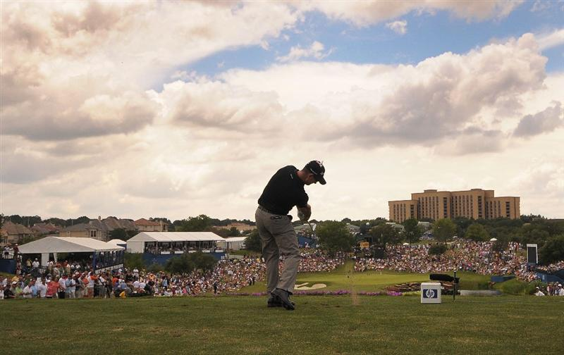 IRVING, TX - MAY 23:  Rory Sabbatini tees off the par three 17th hole during the third round of the HP Byron Nelson Championship held at the TPC Four Seasons Resort Las Colinas on May 23, 2009 in Irving, Texas.  (Photo by Marc Feldman/Getty Images)