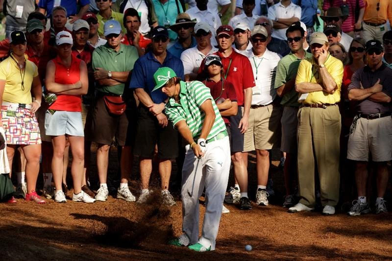 AUGUSTA, GA - APRIL 09:  Rickie Fowler plays a shot from the pine needles on the 17th hole during the third round of the 2011 Masters Tournament at Augusta National Golf Club on April 9, 2011 in Augusta, Georgia.  (Photo by David Cannon/Getty Images)