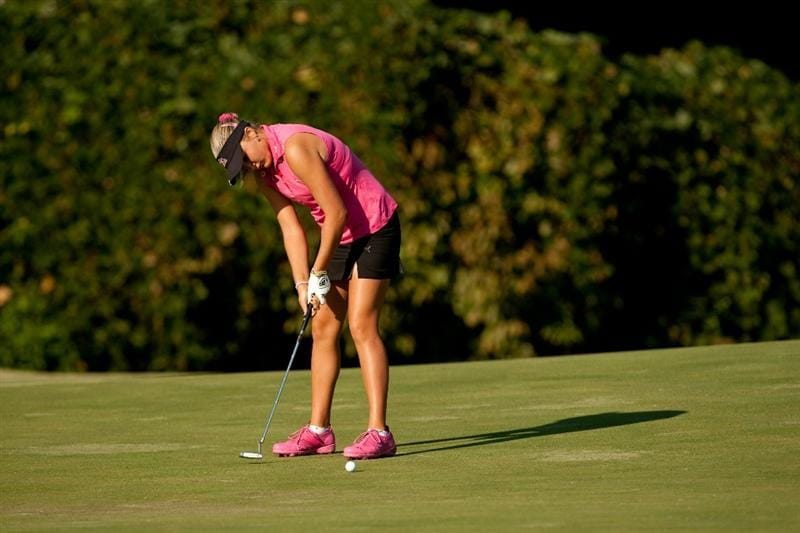 PRATTVILLE, AL - OCTOBER 8: Alexis Thompson putts during the second round of the Navistar LPGA Classic at the Senator Course at the Robert Trent Jones Golf Trail on October 8, 2010 in Prattville, Alabama. (Photo by Darren Carroll/Getty Images)