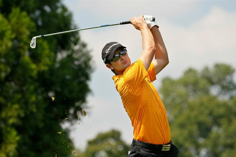 ATLANTA - SEPTEMBER 23:  Justin Rose of England hits his tee shot on the second hole during the first round of THE TOUR Championship presented by Coca-Cola at East Lake Golf Club on September 23, 2010 in Atlanta, Georgia.  (Photo by Kevin C. Cox/Getty Images)