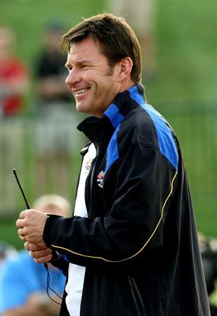 LOUISVILLE, KY - SEPTEMBER 19:  European team captain Nick Faldo watches the plays on the first tee during the 2008 Ryder Cup at Valhalla Golf Club on September 19, 2008 in Louisville, Kentucky.  (Photo by David Cannon/Getty Images)
