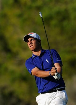 CASTELLON DE LA PLANA, SPAIN - OCTOBER 22:  Matteo Manassero of Italy plays his approach shot on the 15th hole during the second round of the Castello Masters Costa Azahar at the Club de Campo del Mediterraneo on October 22, 2010 in Castellon de la Plana, Spain.  (Photo by Stuart Franklin/Getty Images)
