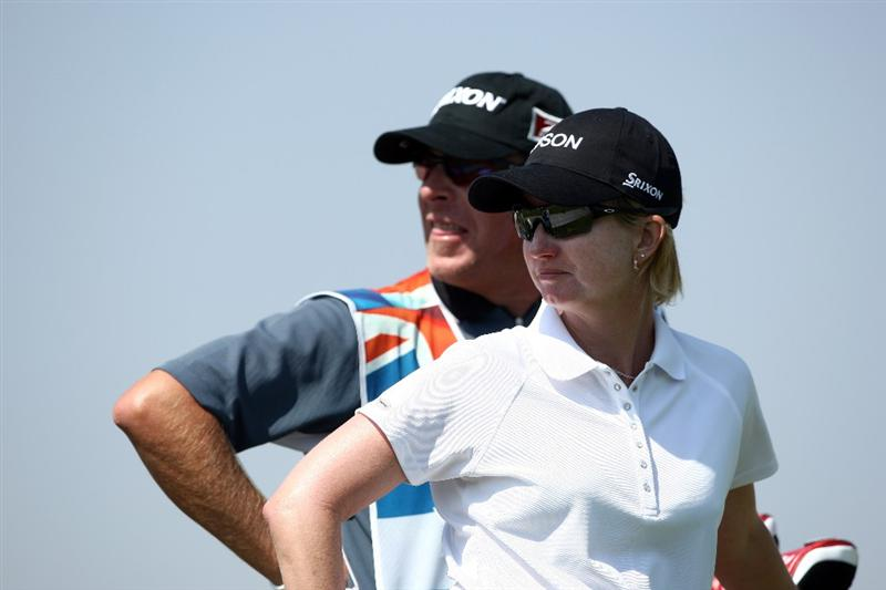 MORELIA, MEXICO- APRIL 24:  Karrie Webb of Australia and caddie looks on the 9th hole during the second round of the Corona Championship at the Tres Marias Residential Golf Club on April 24, 2009 in Morelia, Michoacan, Mexico. (Photo by Donald Miralle/Getty Images)