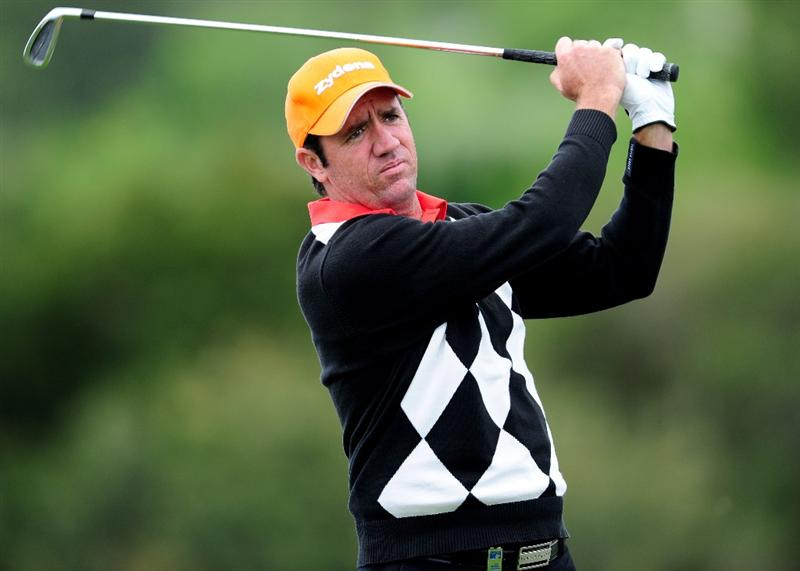 MALLORCA, SPAIN - MAY 15:  Scott Hend of Australia plays his tee shot on the sixth hole during the third round of the Open Cala Millor Mallorca at Pula golf club on May 15, 2010 in Mallorca, Spain.  (Photo by Stuart Franklin/Getty Images)