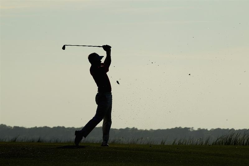 HILTON HEAD ISLAND, SC - APRIL 23:  Luke Donald of England hits his second shot on the 18th hole during the third round of The Heritage at Harbour Town Golf Links on April 23, 2011 in Hilton Head Island, South Carolina.  (Photo by Streeter Lecka/Getty Images)