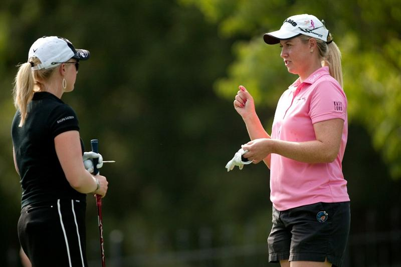 DANVILLE, CA - OCTOBER 14: (L-R) Morgan Pressel and Brittany Lincicome talk as they wait on the ninth tee during the first round of the CVS/Pharmacy LPGA Challenge at Blackhawk Country Club on October 14, 2010 in Danville, California. (Photo by Darren Carroll/Getty Images)