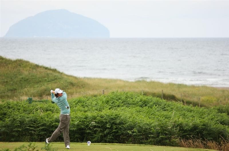 TURNBERRY, SCOTLAND - JULY 18:  Rory McIlroy of Northern Ireland tees off on the 2nd hole during round three of the 138th Open Championship on the Ailsa Course, Turnberry Golf Club on July 18, 2009 in Turnberry, Scotland.  (Photo by Andrew Redington/Getty Images)
