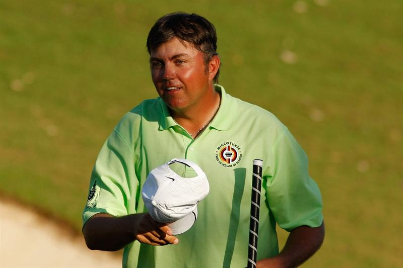 RIVIERA MAYA, MEXICO - FEBRUARY 28:  Bo Van Pelt reacts to making a putt for par on the 18th hole during the third round of the Mayakoba Golf Classic on February 28, 2009 at El Camaleon Golf Club in Riviera Maya, Mexico.  Van Pelt  shot a 67, for a total of 11 under par to share the lead with Mark Wilson.  (Photo by Chris Graythen/Getty Images)