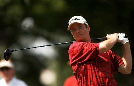 Ted Purdy hits from the 12th tee during the first round of the Bank of America Colonial at Colonial Country Club in Ft. Worth, Texas May 19, 2005.Photo by Steve Grayson/WireImage.com