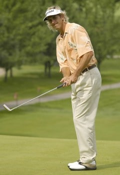 Pat Bates reacts after missing a birdie attempt on the second hole during the third round of the Nationwide Tour Xerox Classic in Rochester, New York,  Augu. 20, 2005.Photo by Kevin Rivoli/WireImage.com