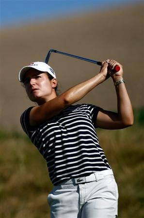 DANVILLE, CA - SEPTEMBER 25:  Lorena Ochoa tees off on the 16th hole during the second round of the CVS/pharmacy LPGA Challenge at Blackhawk Country Club on September 25, 2009 in Danville, California.  (Photo by Jonathan Ferrey/Getty Images)