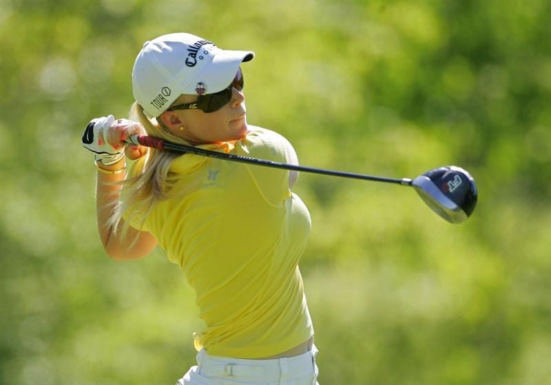CORNING, NY - MAY 21:  Morgan Pressel hits a drive during the first round of the LPGA Corning Classic at the Corning Country Club held on May 21, 2009 in Corning, New York.  (Photo by Michael Cohen/Getty Images)