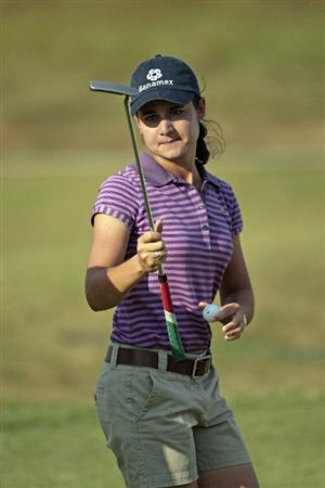 PRATTVILLE, AL - SEPTEMBER 27:  Lorena Ochoa of Mexico reacts on the eighteenth hole after completing her third round play in the Navistar LPGA Classic at the Robert Trent Jones Golf Trail at Capitol Hill on September 27, 2008 in Prattville, Alabama.  (Photo by Dave Martin/Getty Images)