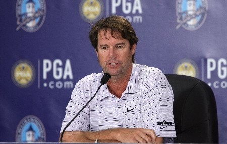 TULSA, OK - AUGUST 08:  U.S. Ryder Cup Captain Paul Azinger speaks with the media during a practice round prior to the start of the 89th PGA Championship at the Southern Hills Country Club on August 8, 2007 in Tulsa, Oklahoma.  (Photo by Jeff Gross/Getty Images)