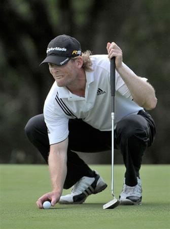 SAN ANTONIO, TX - MAY 15:  James Driscoll lines up a putt for birdie on the 6th hole during the second round of the Valero Texas Open at the TPC San Antonio on May 15, 2010 in San Antonio, Texas. (Photo by Marc Feldman/Getty Images)