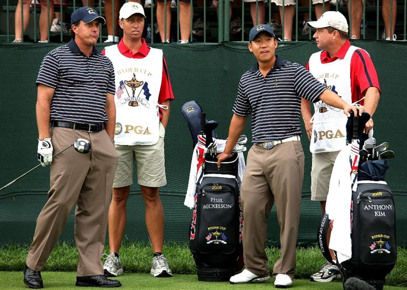 LOUISVILLE, KY - SEPTEMBER 20:  Phil Mickelson and Anthony Kim of the USA team get ready to tee off on the first hole during the morning foursome matches on day two of the 2008 Ryder Cup at Valhalla Golf Club on September 20, 2008 in Louisville, Kentucky.  (Photo by David Cannon/Getty Images)