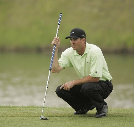 Chris Couch follows lines up a putt during the final round of the LaSalle Bank Open being held at the The Glen Club in Glenview, Illinois on June 12, 2005.Photo by Mike Ehrmann/WireImage.com