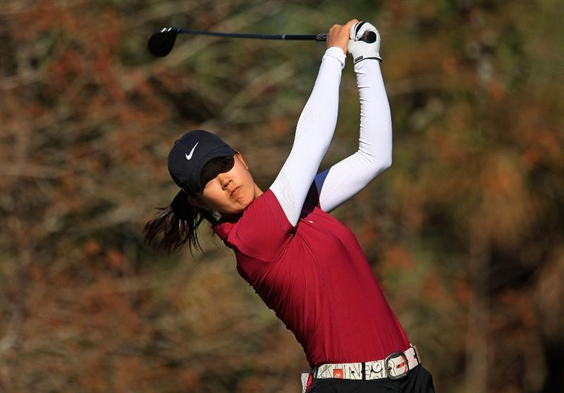 DAYTONA BEACH, FL - DECEMBER 07:  Michelle Wie hits her tee shot on the 18th hole during the final round of the LPGA Qualifying School at LPGA International on December 7, 2008 in Daytona Beach, Florida.  (Photo by Scott Halleran/Getty Images)